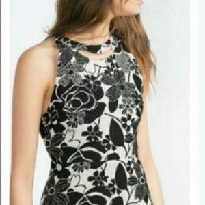 ZARA BASIC Black & White Floral Cutout Dress Sz XS